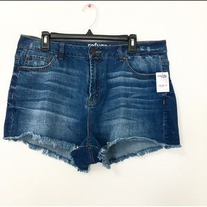 Refuge High Rise Cheeky Jean Shorts Size 16